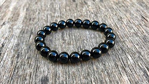 LOVEKUSH Galaxy Jewelry - Pulsera de ónix negro elástico de 8 mm, redonda, lisa, 17,78 cm, para hombres, mujeres, gf, bf y adultos.
