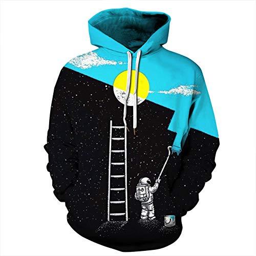 yyqx container Heren en vrouwen realistische 3D gedrukte trui hooded sweatshirt hoodie grote zak schilderij spaceman 3D hoodie