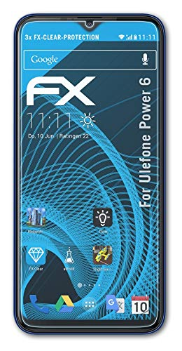 atFolix Schutzfolie kompatibel mit Ulefone Power 6 Folie, ultraklare FX Bildschirmschutzfolie (3X)