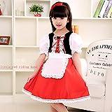 fixiyue Halloween Traje Cosplay Pelota De Maquillaje De Niño Realiza Vestido De Princesa De La Pequeña Caperucita Roja De La Niña 130cm Rojo