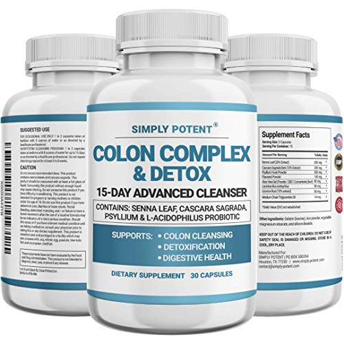 Simply Potent Colon Cleanser & Detox for Weight Loss, Colon Cleanse Supplement with Probiotic, Laxatives, MCT Oil & Fibers for Cleansing, Constipation Relief, Digestive Health & Energy, 30 Capsules