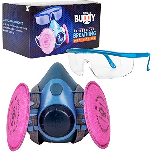 Breath Buddy Respirator Mask (Plus Safety Glasses) Reusable Professional Breathing Protection Against Dust, Pollen, Lead Paint & Asbestos - Perfect for Welding, Woodworking and DIY Projects