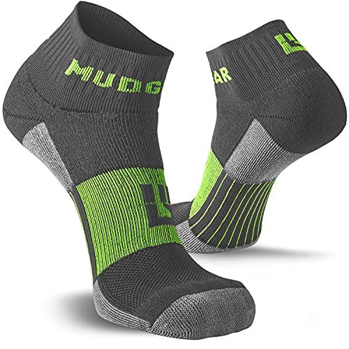 MudGear - Calcetines para trail running unisex, fabricados en EE.UU., 2pares, Gris/Verde