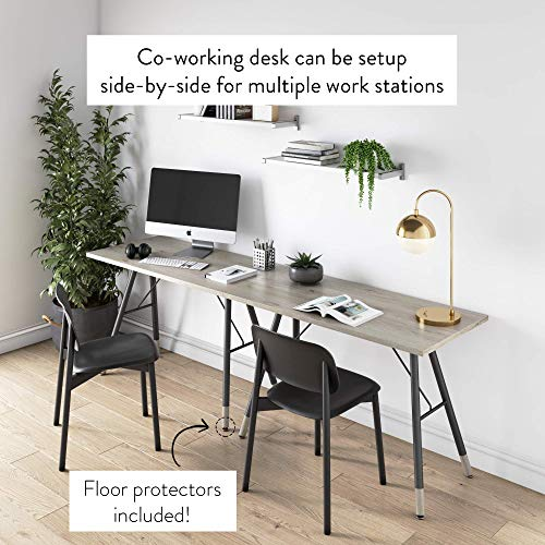 Nathan James Andi Computer, Office Desk, or Small Study Table, Light Wood Top with Metal A-Frame, Oak/Black, Wooden