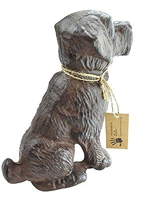 "LuLu Decor, 100% Cast Iron Decorative Dog Door Stopper, Doorstop, Sculpture, Dog Statue, 6"" Height, Weighs 4.50 lb, Antique Brown (Brown 4.50 lb)"