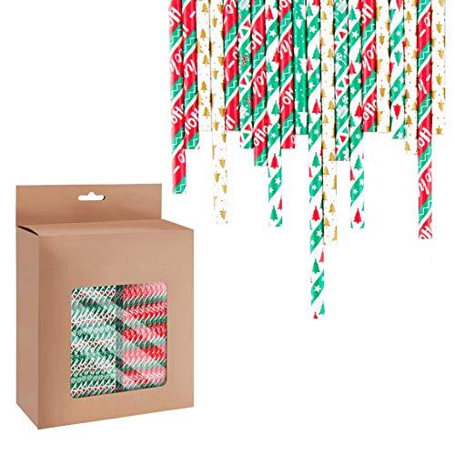Winko 300PCS PapierStrohhalme Biologisch Abbaubare Bunte Papier Trinkhalm für Geburtstag Hochzeit Weihnachten Feier, 6 (Weihnachten)