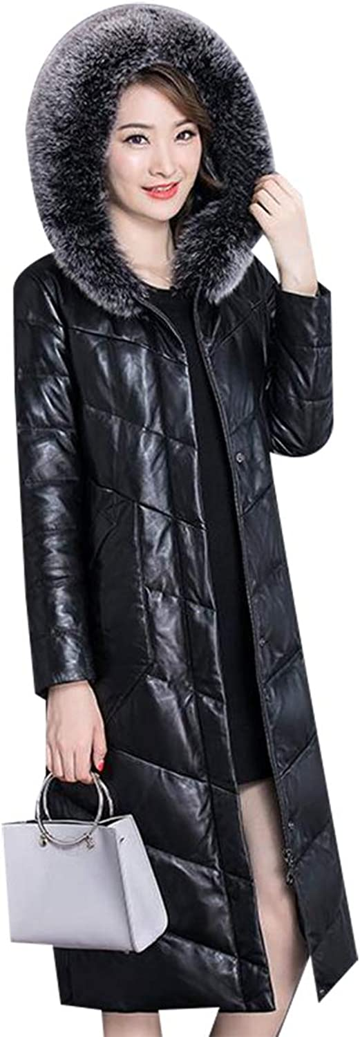 Esast Women's Plus Size PU Leather Quilted Midlength Puffer Hood Down Jacket