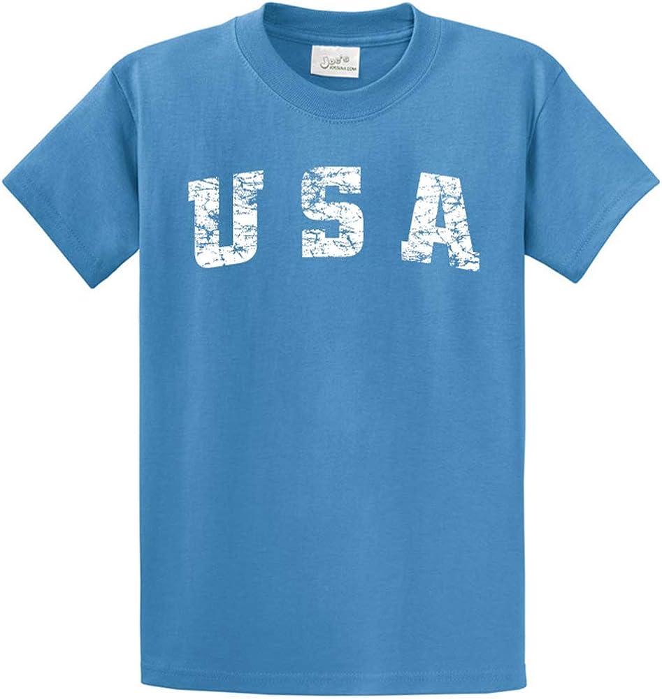 Joe's USA -Tall Vintage USA Logo Tee T-Shirts in Size X-Large Tall -XLT Carolina Blue