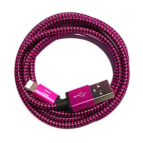Nylon USB 8-Pin oplaadkabel datakabel oplader compatibel met [Apple iPhone XS XR XS Max X 10 8 8Plus 7 7Plus 6S 6SPlus 6 6Plus 5S 5C 5 SE | iPad | iPod] bont 3m Premium pink