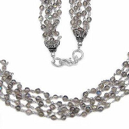 Collar de piedras preciosas / cadena-Labradorita 925 Sterling Silver Rhodium-330 Beads