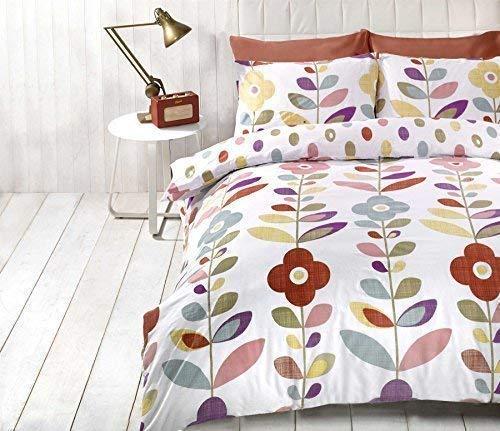 Lumineux Floral Ovale à Pois Rouge Mélange de Coton Simple ( Uni Gris Argenté Drap Housse - 91 X 191cm + 25) 3 Pièces Ensemble de Literie