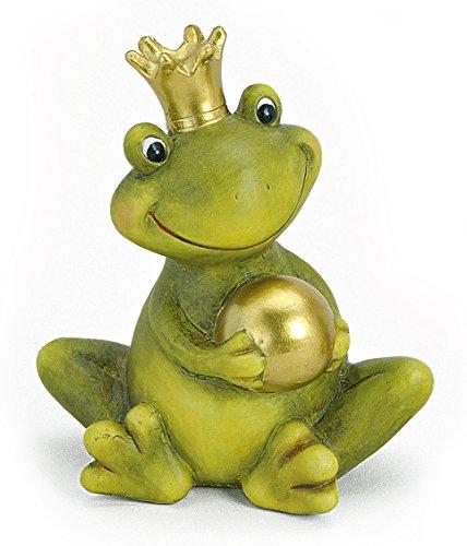 TEMPELWELT Dekofigur Gartenfigur Frosch Froschkönig 15 cm, Keramik Grün Mit Goldkugel, Deko Figur Märchenfrosch Garten Deko Stein Optik