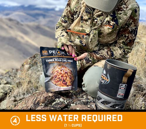 Peak Refuel Three Bean Chili Mac   Vegan   Freeze Dried Backpacking and Camping Food   Amazing Taste   High Protein   Quick Prep   Lightweight (2 Serving Pouch)