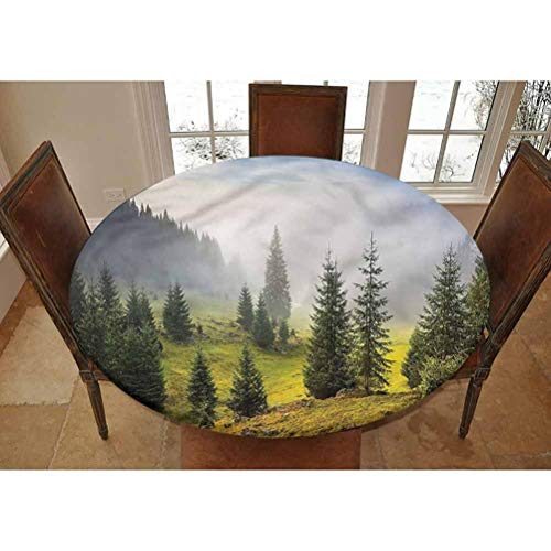 Lyheller Forest Elastic Edged Polyester Fitted Tablecolth -Green Trees on Meadow- XL Large Round Fitted Table Cover - Fits Tables up to 63' Diameter,The Ultimate Protection for Your Table