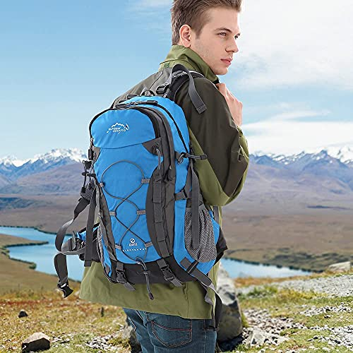 INOXTO lightweight Hiking Backpack 40L Hiking Daypack with Waterproof Rain Cover Camping Backpack for Travel Camping Outdoor for Men and Women (Blue)