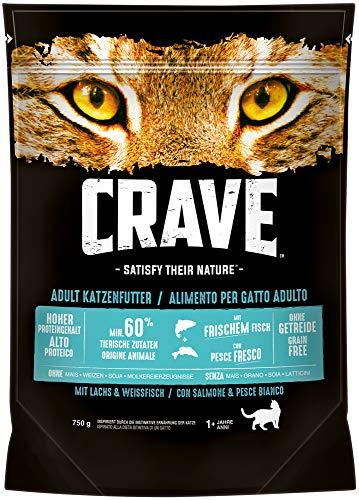 CRAVE Premium Trockenfutter mit Lachs & Weißfisch für Katzen – Getreidefreies Adult Katzenfutter mit hohem Proteingehalt – 5 x 750 g