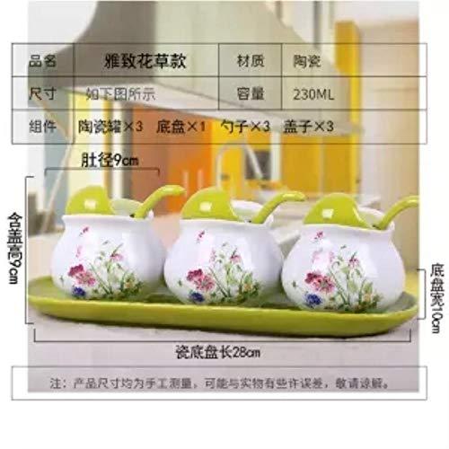 NTR Keramik-Gewürzbehälter, 3-teilig, Küchenhelfer, Gewürzbox, Flasche, Salzstreuer, Gewürzflasche 3-teiliger Anzug8