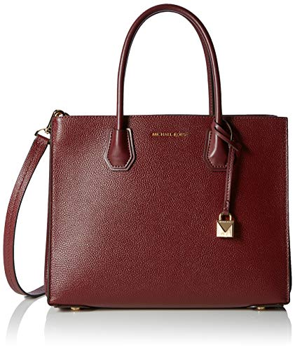 """Medium sized bag; 12-1/2""""W x 9-3/4""""H x 5-1/2""""D 5-1/2""""L handles / 15-3/4""""L to 18-1/4""""L removable strap Zip closure Gold-tone exterior hardware One interior center zip compartment with one back zip pocket & two open compartments"""