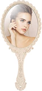 Tinland Hand Mirror with Handle Vintage Personal Vanity Makeup Handheld Mirror Compact Travel 9.8x4.5in(Ivory White)