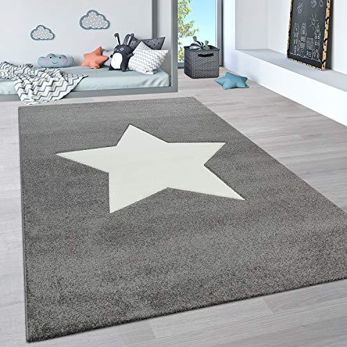 Paco Home Kinderteppich, Kinderzimmer Pastell Teppich mit 3D Wolken u. Stern Motiven, Grösse:120x170 cm, Farbe:Grau
