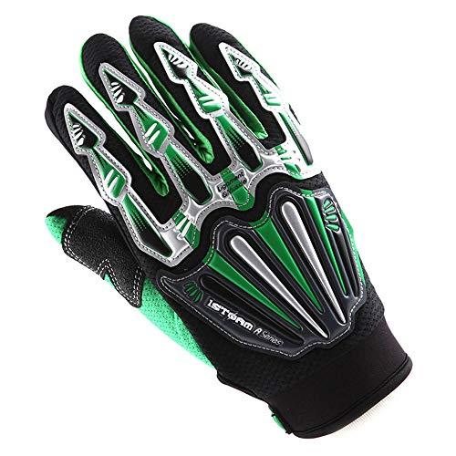 Youth Kids Motocross Gloves Motorcycle BMX MX ATV Dirt Bike Bicycle Cycling Gloves Skeleton Green