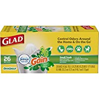 Glad OdorShield Quick-Tie Small Trash Bags, Gain Original, 4 Gallon, 156 Count by Glad