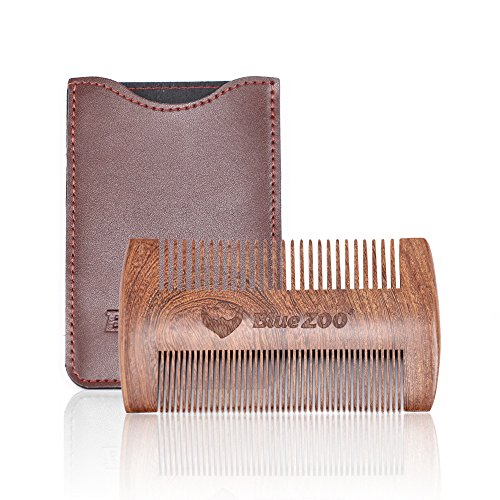 Baardkam, houten tas kam stijl baard bijl en snor met leren tas voor de dagelijkse verzorging baard beste perfect cadeau voor mannen Braunes Set