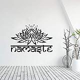 Etiqueta de la pared religiosa con letras indias vinilo Lotus Yoga Buda flor pegatina de pared escena de película