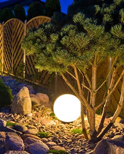 Trango 1er Set 400WB IP65 Gartenkugel in Weiß matt 40cm Durchmesser inkl. je 1x E27 LED Leuchtmittel *SNOW* Kugelleuchte inkl. ca. 5 Meter IP44 Kabel Gartenleuchte, Leuchtkugel, Wegleuchte, Kugellampe