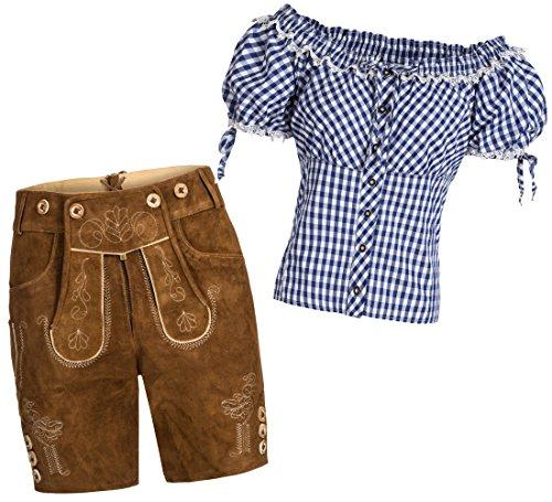 Gaudi-Leathers Conjunto de pantalones cortos de piel para mujer, color marrón claro + tirantes + blusa para traje regional, varios colores, marca azul y blanco a cuadros 36