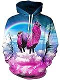 TUONROAD Sweatshirt Hombre Gracioso Unicornio 3D Impreso Hoodie Mujer Ligero Gym Pullover Confortable Sudaderas con Capucha Unisex Manga Larga Sweater Hoody con Bolsillos Cordón 2XL-3XL