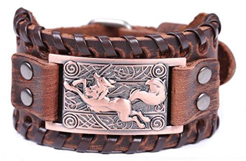 Lemegeton Viking Runing Wolf Fox Celtic Knotwork Wide Leather Bracelet for Men Punk Vintage Jewely