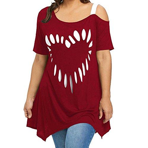 Women's Plus Size Blouse, Women Casual Love Printing Short Sleeve Cold Shoulder T-Shirt Irregular Hem Tunic Tops (XXL, Wine Red)