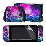 eXtremeRate Full Set Faceplate Skin Decals Stickers and 2 Pcs Screen Protector for Nintendo Switch/NS Console & Joy-con Controller & Dock Protection Kit - Shining Galaxy