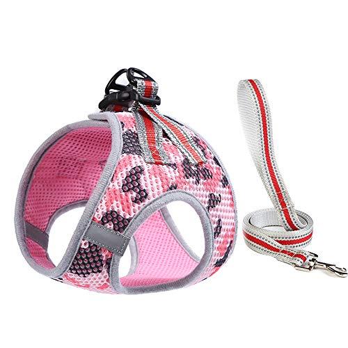 PET SPPTIES Weich Katze/Hunde Geschirr Air Mesh Verstellbar Sicher Kontrolle Welpengeschirr Weste Hunde Brustgeschirr PS041 (XS, Pink & Black)