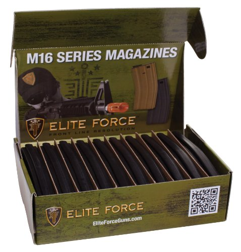 Elite Force M4 and M16 6mm BB Airsoft Gun Magazine, Black (140 Rounds), Pack of 10