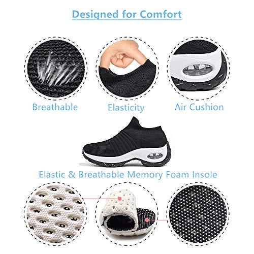 Zapatillas Deportivas de Mujer Zapatos Running Fitness Gym Outdoor Sneaker Casual Mesh Transpirable Comodas Calzado Negro-Blanca Talla 41