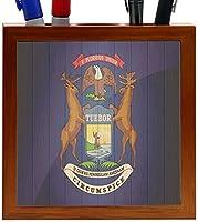 Rikki Knight Michigan Flag on Distressed Wood Design 5-Inch Tile Wooden Tile Pen Holder (RK-PH8635) [並行輸入品]