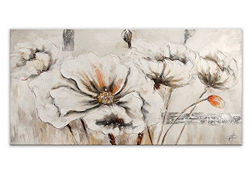 World Art TW60091 Dipinto su telaio estetico Fiori Bianchi, Legno, 70x140x3.5 Cm