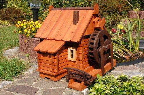 Deko-Shop-Hannusch Grand moulin à eau décoratif en bois style maison en rondins