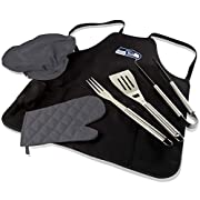 NFL BBQ Apron Tote PRO set for the serious grill master Durable polyester canvas tote unfolds and converts to BBQ apron with several pockets-includes BBQ mitt and chef's hat Deluxe grilling tools included are one each: spatula with bottle opener, for...