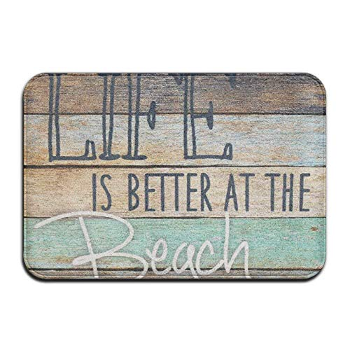 SPXUBZ Life is Better at The Beach Theme Wood Stripe Non Slip Entrance Rug Outdoor/Indoor Durable and Waterproof Machine Washable Door mat Size:18x30 inch