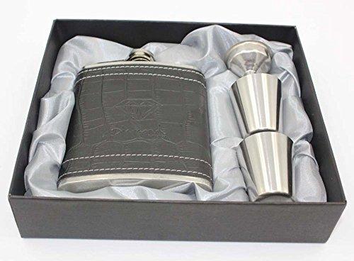 7oz inox Portable Hip Flask Gift Box Set comprend 2 tasses 1 entonnoir et un coffret adapté pour extérieur Noël idées cadeaux pour les ados