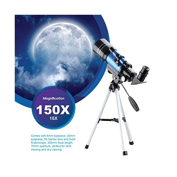 Aomekie Telescope for Kids Beginners Astronomical Telescope with Tripod and Finderscope