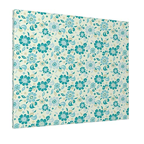"""Hat&C Flower Summer Meadow Theme Wildlife Flourishing Little Blossoms Plants Growth Sky Blue Teal Khakipainting 16"""" X 20"""" Panoramic Canvas Wall Art"""