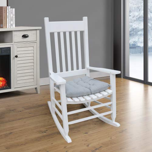 Manfore Rocking Chair, Wooden Frame Porch Rocker Chair and Free Cushion, Outdoor & Indoor for Garden, Lawn, Balcony, Backyard and Patio (White)