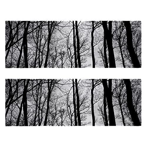 Toalla de microfibra con árboles sin hojas, color negro, blanco, ramas muertas, secado rápido, súper absorbente, ligera, apta para viajes, camping, gimnasio, natación, yoga