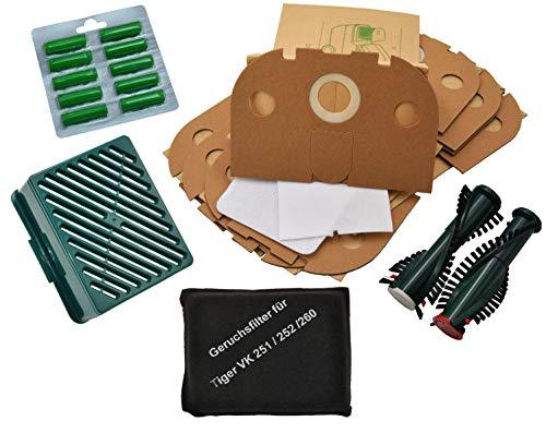 10 Staubsaugerbeutel + Aktivfiltersystem + Bürsten EB 350/351 + 10 Duft geeignet für Vorwerk Tiger 251 252