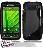 Muzzano F20S01-2721156 - Funda para Blackberry Torch 9860, con 3 protectores de pantalla, color negro