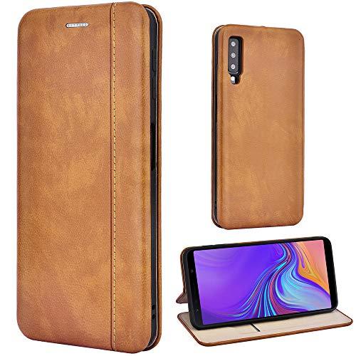 Leaum Handyhülle Leder für Samsung Galaxy A7 2018 Hülle, Premium Handytasche Flip Schutzhülle für Samsung Galaxy A7 2018 Tasche (Braun)